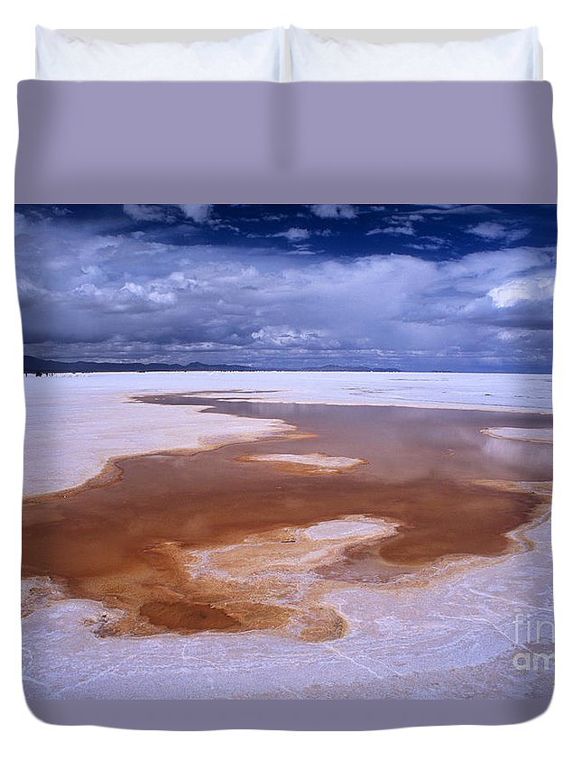 Bolivia Duvet Cover featuring the photograph Natures Watercolours On The Salar De Uyuni by James Brunker