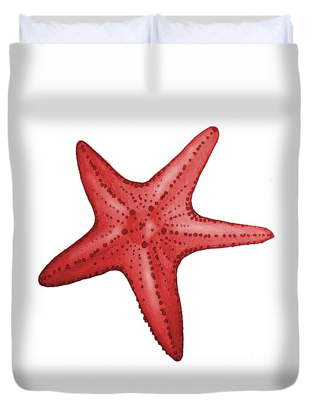 Red Duvet Cover featuring the digital art Nautical Red Starfish by Michelle Eshleman