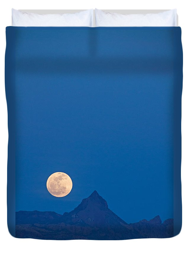 Landscape Duvet Cover featuring the photograph Navada Moon-1 by Claude Dalley