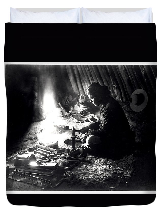 Navajo Duvet Cover featuring the photograph Navaho Silversmith by William J Carpenter