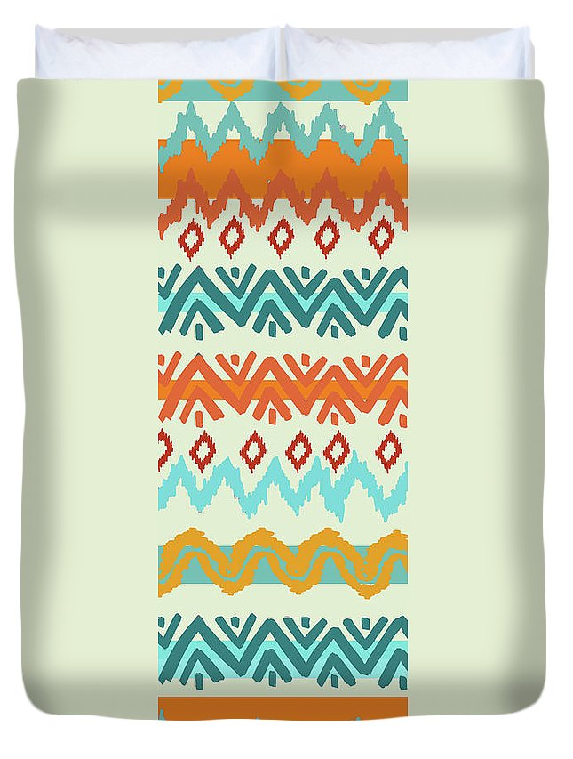 Navajo Duvet Cover featuring the digital art Southwest Pattern I by Nicholas Biscardi