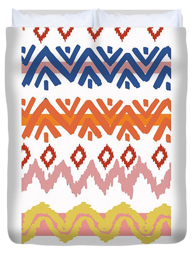 Navajo Duvet Cover featuring the digital art Southwest Pattern III by Nicholas Biscardi