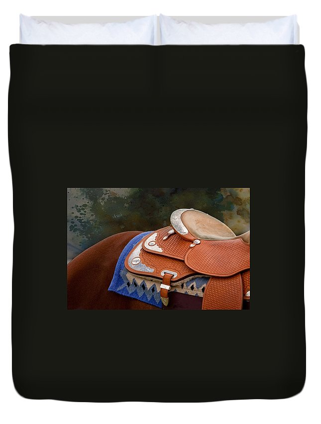 Abstract Horse Photography Duvet Cover featuring the photograph Navajo Silver And Basketweave by Michelle Wrighton