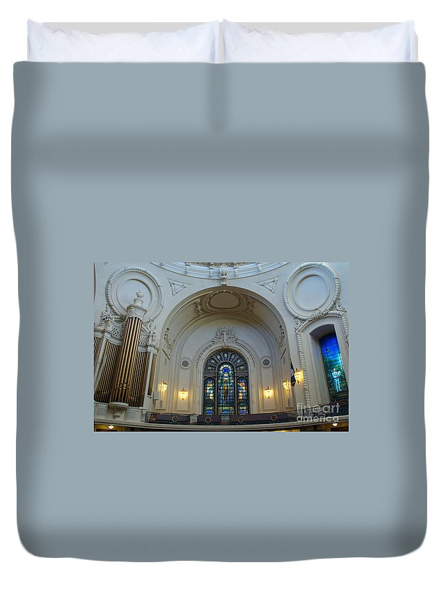 Academy Duvet Cover featuring the photograph Naval Academy Chapel Side Portal by Mark Dodd