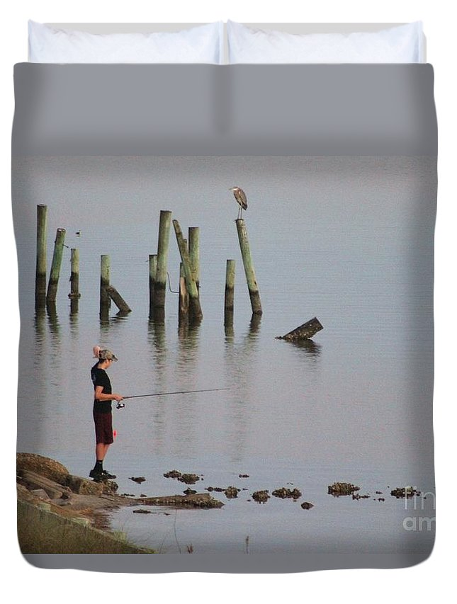 Navarre Beach Pier Duvet Cover featuring the photograph Navarre Beach Sunset Pier 4 by Michelle Powell