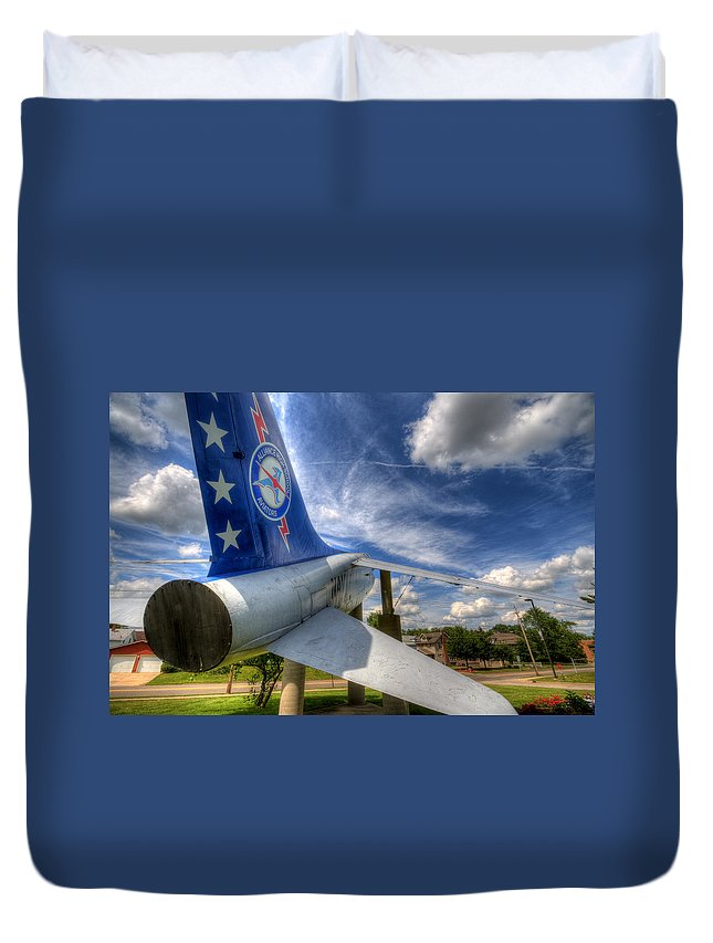 Navy Duvet Cover featuring the photograph Navy A-7 Fighter Static Display by David Dufresne