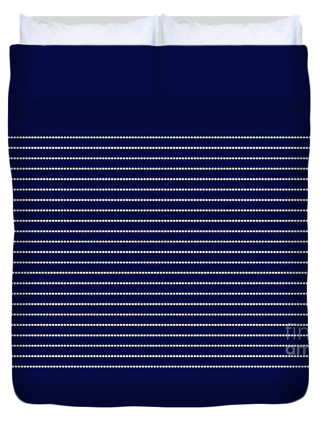Abstract Duvet Cover featuring the digital art Navy Pinstripe 2 by Andee Design