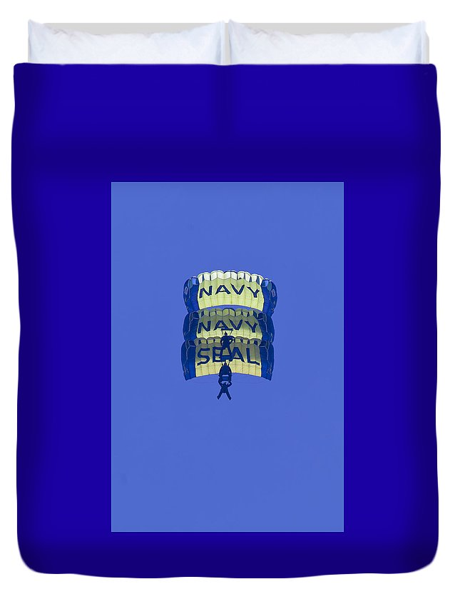 Oc Air Show Duvet Cover featuring the photograph Navy Seal Leap Frogs 3 Vertical Parachutes by Donna Corless