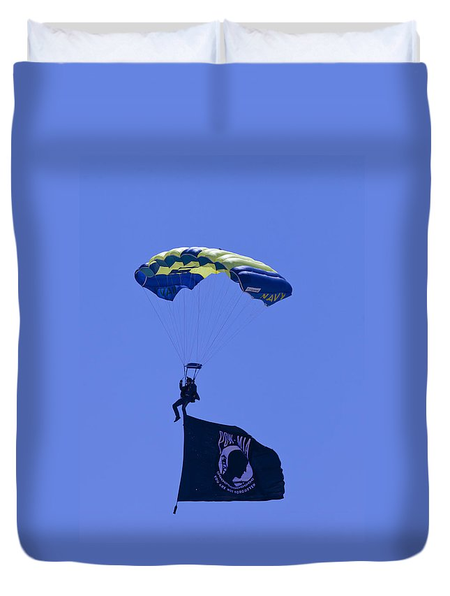 Oc Air Show Duvet Cover featuring the photograph Navy Seal Leap Frogs Pow Flag by Donna Corless