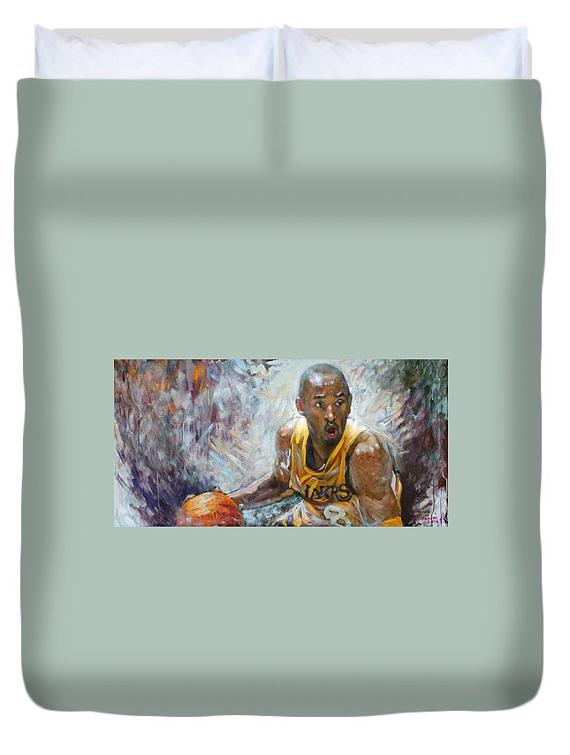Lakers Duvet Cover featuring the painting Nba Lakers Kobe Black Mamba by Ylli Haruni
