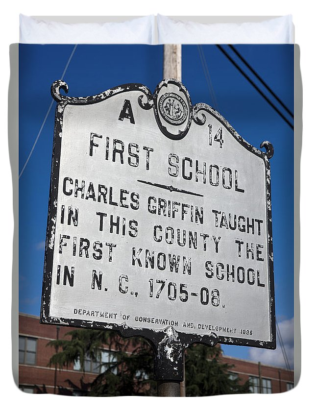 First School Duvet Cover featuring the photograph Nc-a14 First School by Jason O Watson