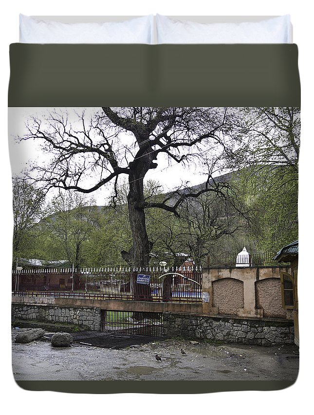 Green Duvet Cover featuring the photograph Near Entrance To Hindu Temple Of Mattan by Ashish Agarwal