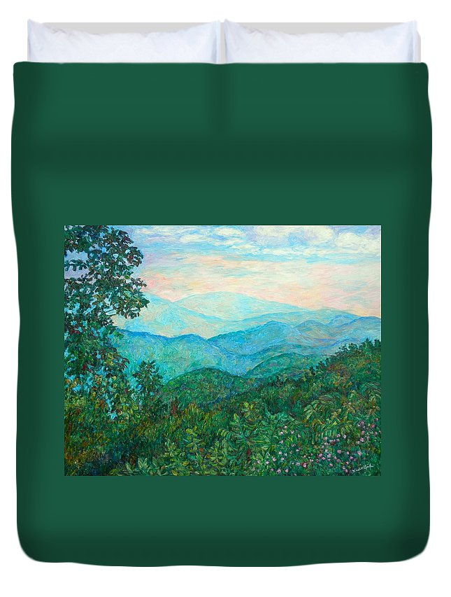 Landscape Duvet Cover featuring the painting Near Purgatory by Kendall Kessler