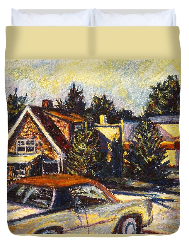 Town Paintings Duvet Cover featuring the painting Near Reeds by Kendall Kessler