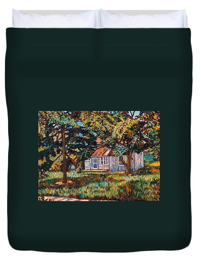 Architecture Duvet Cover featuring the painting Near The Tech Duck Pond by Kendall Kessler