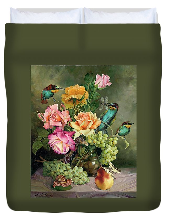 Floral Duvet Cover featuring the painting Near To The Evening by Iva Rom-Lorenz