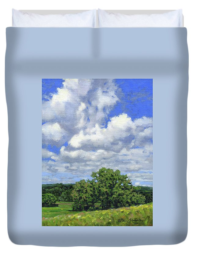 Summer Landscape Duvet Cover featuring the painting Nearly September by Bruce Morrison