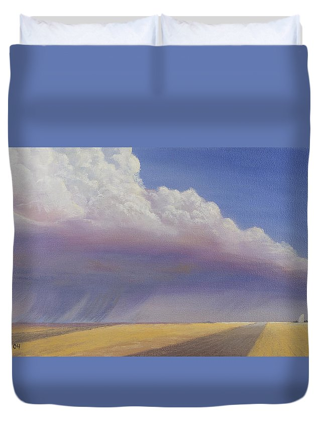 Landscape Duvet Cover featuring the painting Nebraska Vista by Jerry McElroy