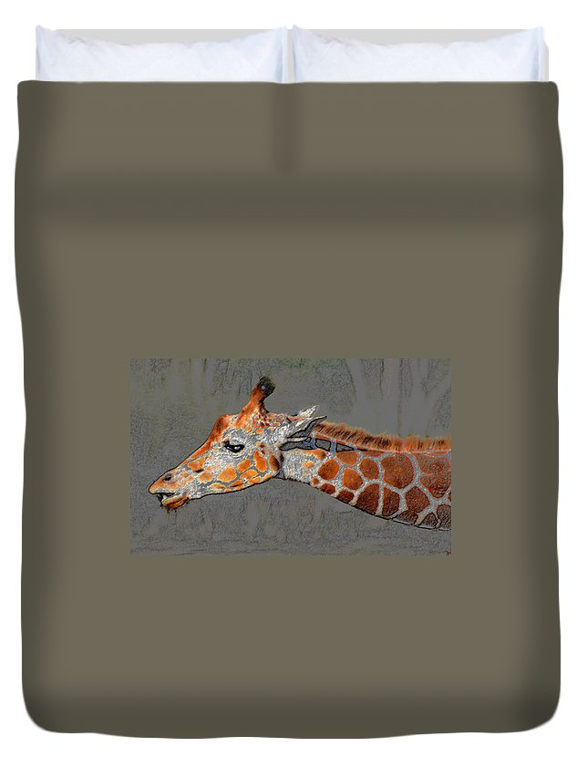 African Giraffe Duvet Cover featuring the painting Neck Of The Giraffe by David Lee Thompson