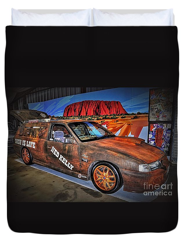 Photography Duvet Cover featuring the photograph Ned Kelly's Car At Ayers Rock by Kaye Menner