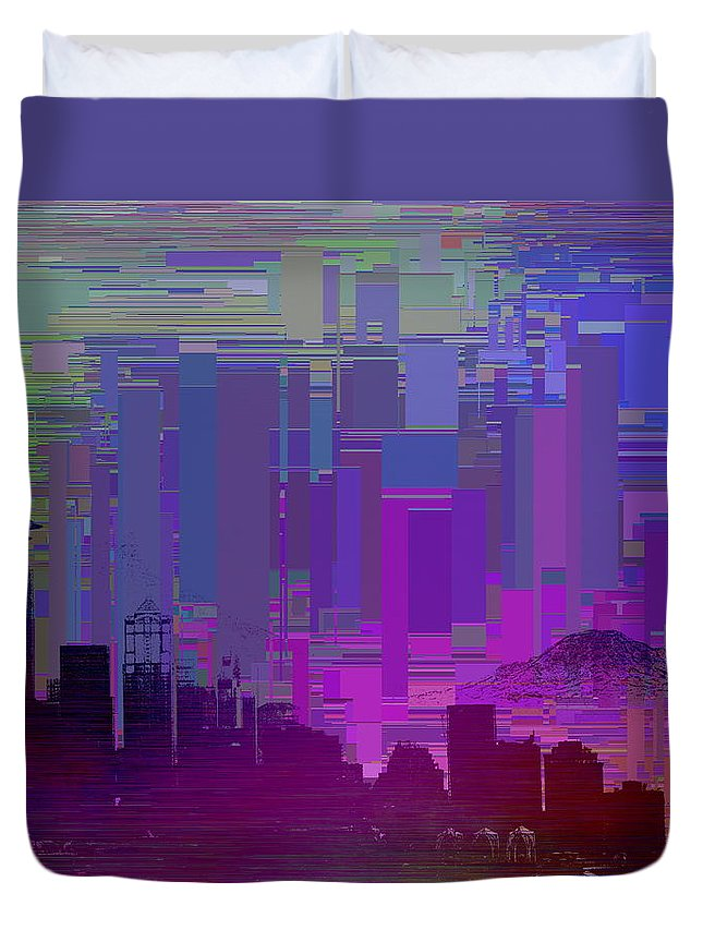 Seattle Duvet Cover featuring the digital art Needle And Da Mountain by Tim Allen