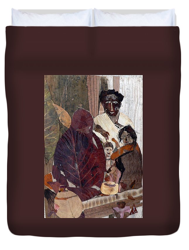 Group Portrait Duvet Cover featuring the mixed media Needy Family by Basant Soni