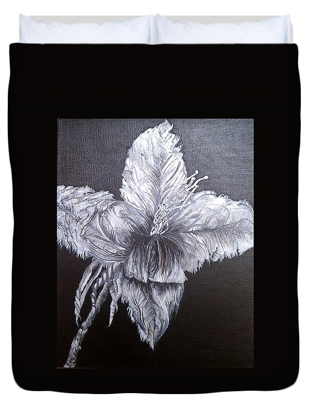 Flower Duvet Cover featuring the painting Negative Essence by Fallon Franzen