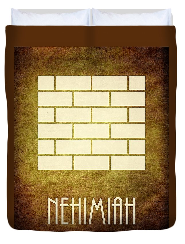 Bible Duvet Cover featuring the digital art Nehimiah by Brett Pfister