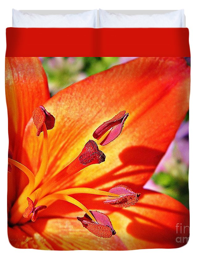 Nature Duvet Cover featuring the photograph Neon Asiatic by Chris Berry