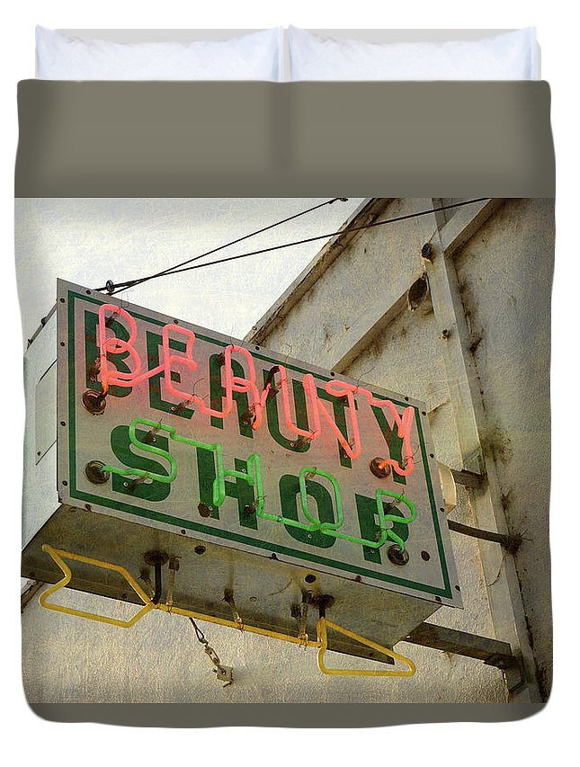 Pole Duvet Cover featuring the photograph Neon Beauty Shop Sign by Smodj