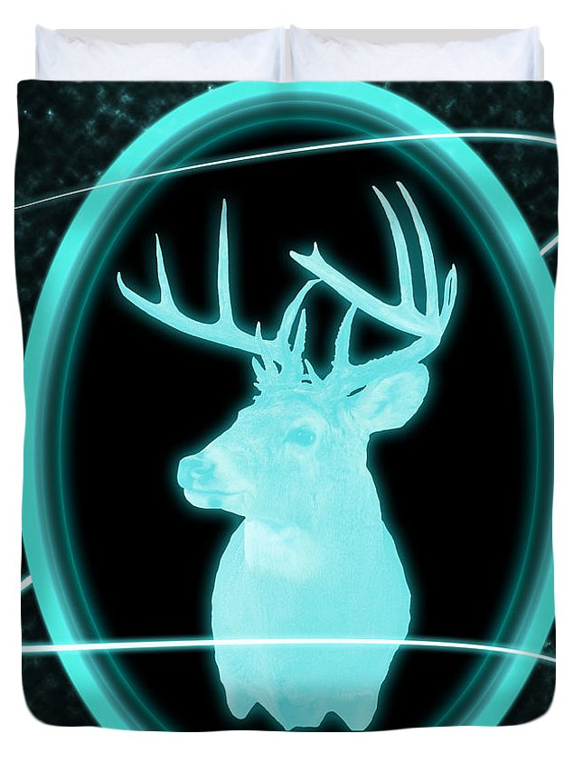 Whitetail Deer Duvet Cover featuring the photograph Neon Buck by Shane Bechler