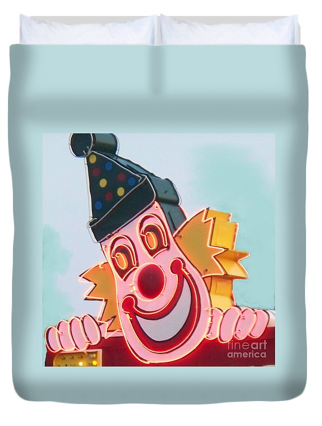 Neon Duvet Cover featuring the painting Neon Clown by Eric Schiabor