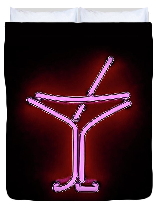 Empty Duvet Cover featuring the photograph Neon Cocktail City Sign Signboard. 3d by Polesnoy
