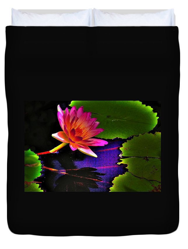 Flower Duvet Cover featuring the photograph Neon Lily by John Absher