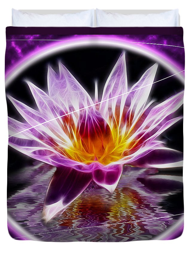 Lotus Duvet Cover featuring the photograph Neon Lotus by Shane Bechler