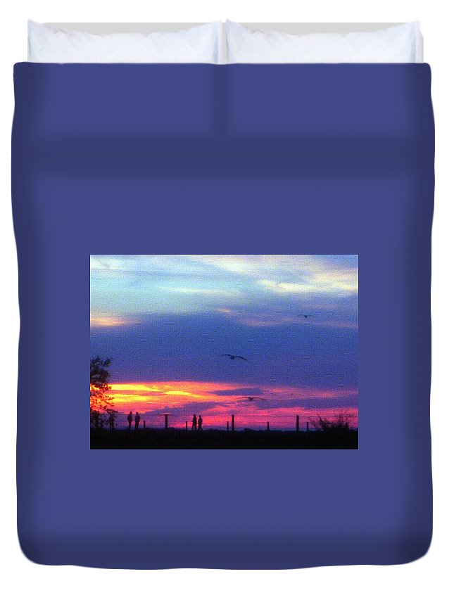 Sunset Duvet Cover featuring the photograph Neon Sunset by Aimee L Maher ALM GALLERY