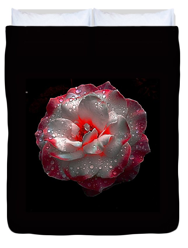 Rose Duvet Cover featuring the photograph Neon Touch by Nick Kloepping