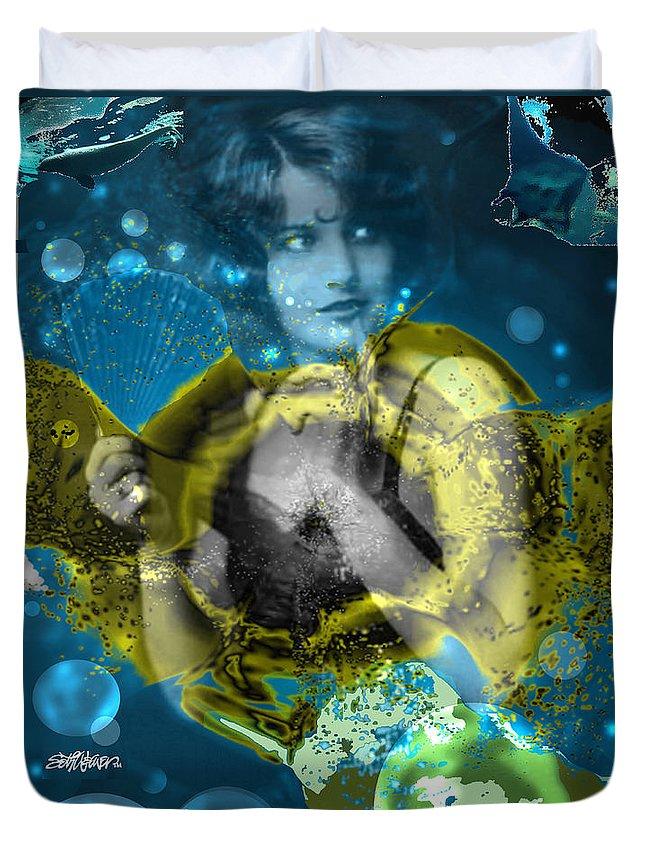 Neptune's Daughter Duvet Cover featuring the digital art Neptune's Daughter by Seth Weaver