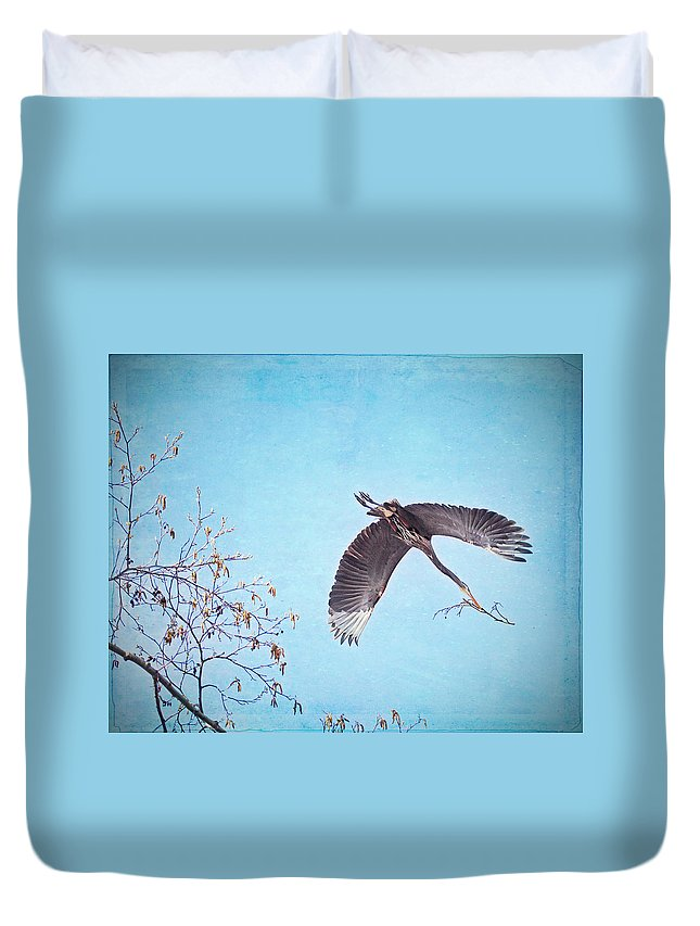Heron Duvet Cover featuring the photograph Nesting Heron by Peggy Collins