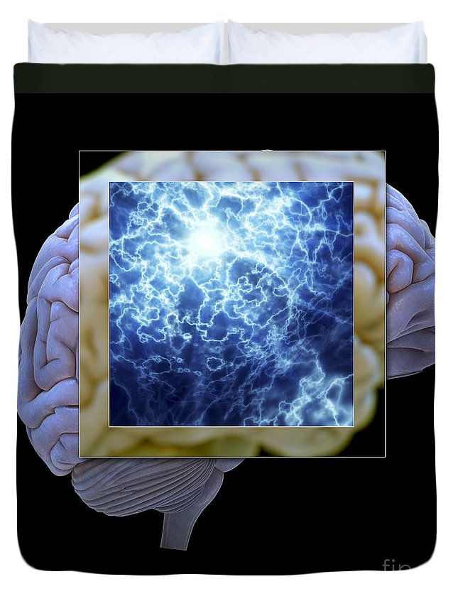 3d Visualization Duvet Cover featuring the photograph Neuron And Brain by Science Picture Co