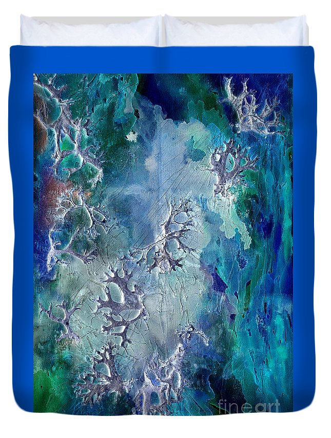 Abstract Duvet Cover featuring the painting Neuronal Lunar Essence by Cristina Handrabur