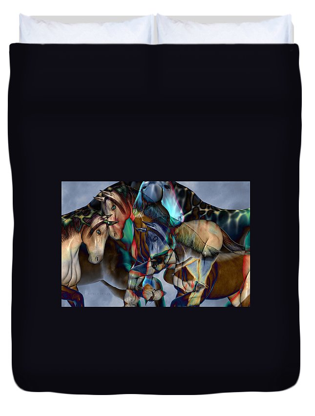 Horse Duvet Cover featuring the digital art Neutral Tones by Betsy Knapp