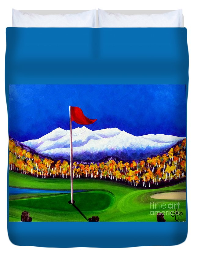 Golf Duvet Cover featuring the painting Never Enough by Jackie Carpenter