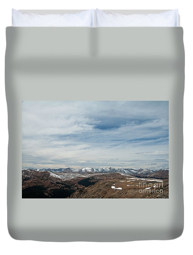Autumn Duvet Cover featuring the photograph Never Summer Mountains From Rock Cut In Moraine Park Rocky Mountain National Park by Fred Stearns