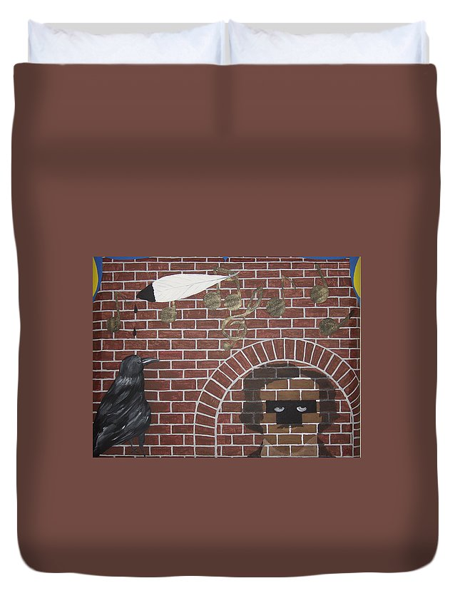 Edgar Allan Poe Duvet Cover featuring the painting Nevermore by Dean Stephens