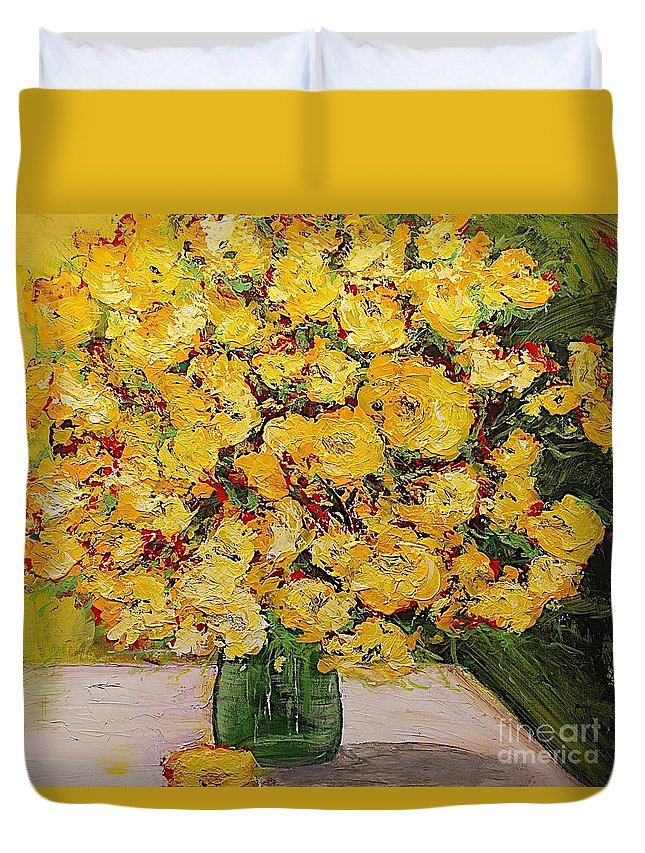 Landscape Duvet Cover featuring the painting New Beginnings by Allan P Friedlander