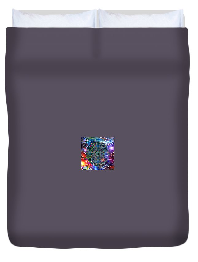 Digital Art Duvet Cover featuring the digital art New Earth Rising by Karen Buford