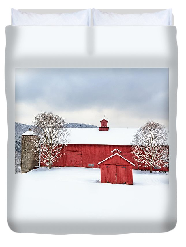 Square Duvet Cover featuring the photograph New England Barns Square by Bill Wakeley