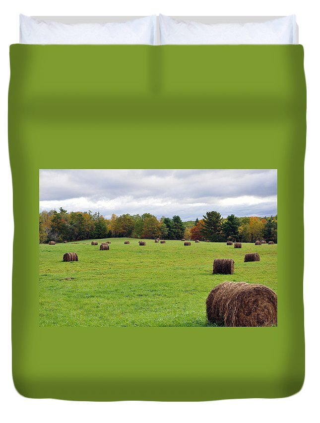 Fall Duvet Cover featuring the photograph New England Hay Bales by Glenn Gordon