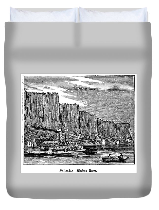 1844 Duvet Cover featuring the painting New Jersey Palisades by Granger